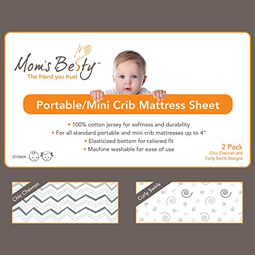 Pack N Play Playard Portable Mini Crib Sheet Set – 2 Pack Jersey Cotton Playpen Fitted Sheets – Grey/White Unisex Bedding for Baby Boy and Baby Girl by Mom's Besty (Image #1)