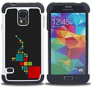 """SAMSUNG Galaxy S5 V / i9600 / SM-G900 - 3 en 1 impreso colorido de Altas Prestaciones PC Funda chaqueta Negro cubierta gel silicona suave (Resumen elefante"""")"""