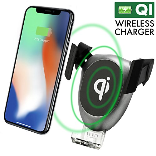 Wireless Charger, Wireless Fast Car Mount, Air Vent Phone Holder, Wireless Car Charger for iPhone - Samsung - HTC - LG and Other QI-Enabled Devices