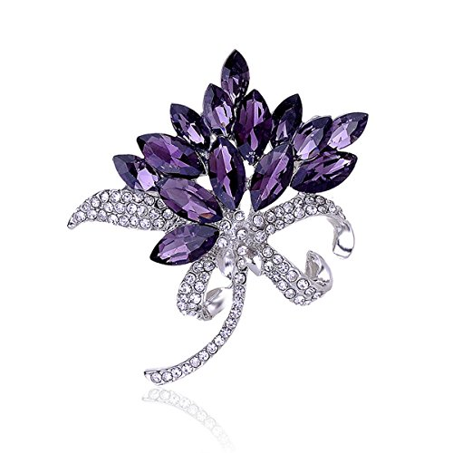(Reizteko Bridal Wedding Jewelry Orchid Flower Petal Brooch Crystal Rhinestone Pins Gift (Purple))