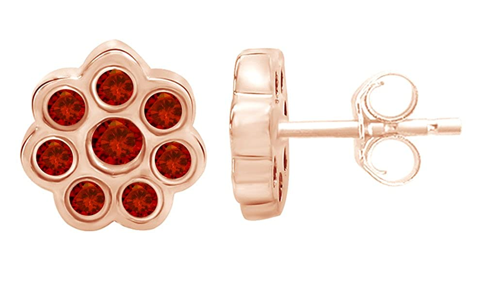 Simulated Garnet Flower Stud Earrings 14K Rose Gold Over Sterling Silver