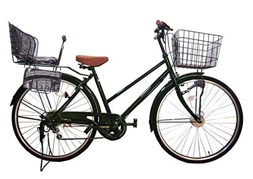 Lupinusルピナス 自転車 26インチ LP-266TA-knr-b シティサイクル シマノ製外装6段ギア オートライト 後子乗せブラック B073LFYXCD グリーン グリーン