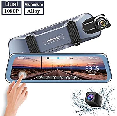"Mirror Dash Cam 9.66"" Dual Lens Full Touch Screen Stream Media Rear View Mirror Camera"