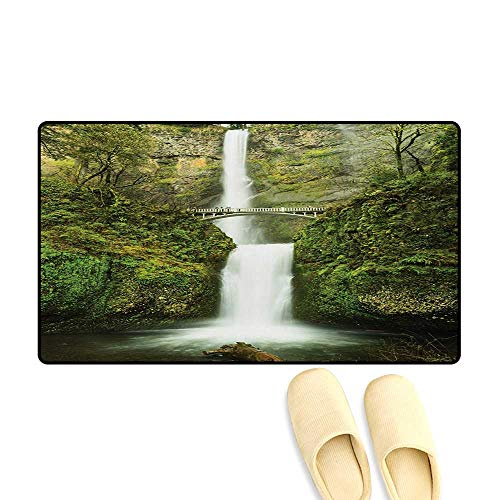 "Doormat,Falls of Rivendell Multnomah Waterfall Oregon with Hobbit Elf Path Bridge Scene Image,Floor Mat Bath Mat for Tub,Green,32""x48"""