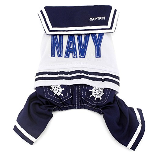 SMALLLEE_LUCKY_STORE Navy Captain Sailor Costume Dog Four Legged Jumpsuits, Blue, X-Large ()