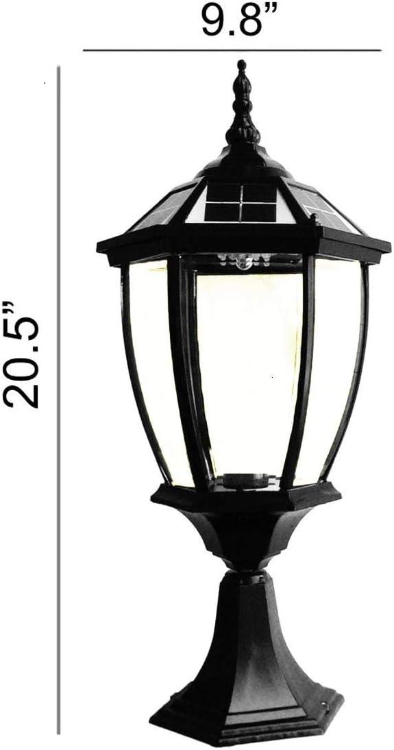 Extra Large Round Solar Post Cap Lights or Pillar, Diameter 9.8 Inch Height 20.5 Inch. Black