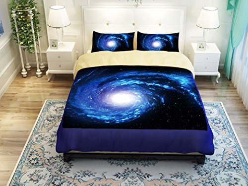 EURO SKY Home Textile,Outer Space 3D Printing Bedding Set,Galaxy Space Pattern Duvet Cover Sets 3-piece Soft Bedding Sets Full Size(1 Duvet Cover, 1 Bed Sheet, 1 Pillow Cases) - Euro Fitted Sheet