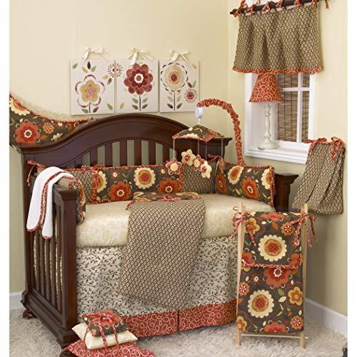 TL 8 Piece Baby Girls Yellow Orange Brown Flower Crib Bedding Set, Newborn Floral Themed Nursery Bed Set, Infant Child Paisley Garden Sunflower Daisy Nature Blanket Comforter, Cotton Polyester