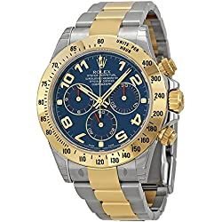 Rolex Daytona Blue Chronograph Steel and Yellow Gold Mens Watch 116523BLAO