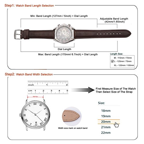 WOCCI Watch Bands Replace Brown Vintage Leather Watch Strap with Silver Metal Pins Buckle for Men Women