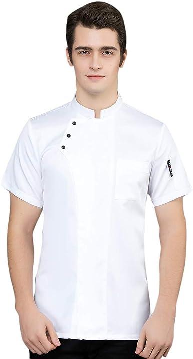 Freahap Chaqueta de Chef Cocinero Camarero de Manga Corta ...