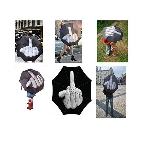 Paraguas Plegable Impermeable con dise/ño de Dedo Medio para d/ías de Lluvia y Sol Regalo de cumplea/ños Creativo NewPointer