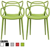 2xhome – Set of 2 – Green Dining Room Chairs – Modern Contemporary Designer Designed Popular Home Office Work Indoor Outdoor Armchair Living Family Room Kitchen Bed Bedroom Porch Patio Balcony ? Review