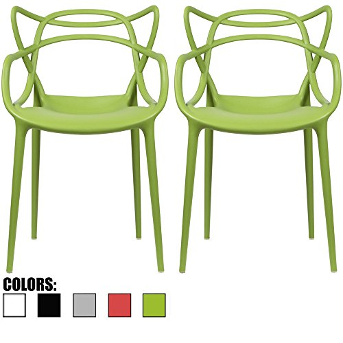 2xhome - Set of 2 - Green Dining Room Chairs - Modern Contemporary Designer Designed Popular Home Office Work Indoor Outdoor Armchair Living Family Room Kitchen Bed Bedroom Porch Patio Balcony ? (Designer Contemporary Outdoor Furniture)