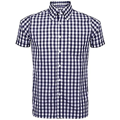 Men's Gingham Retro Ska Short Sleeve Shirt, S to XXL