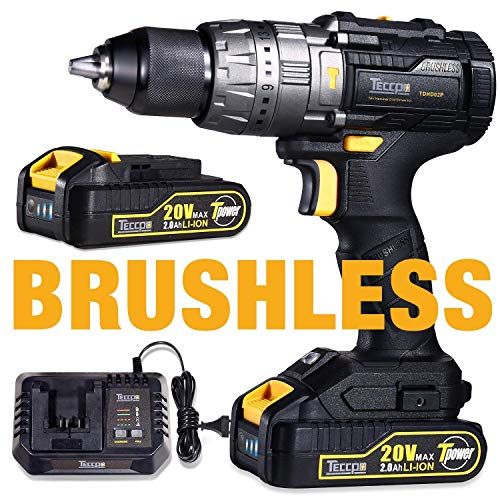 Brushless Drill Driver 20V MAX, TECCPO Professional 60Nm Cordless Drill with 2 Batteries 2.0Ah, 30mins Fast Charger, 21+3 Torque Setting, LED Light, 29pcs Accessories – TDHD02P