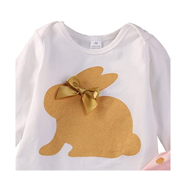 SCFEL Neonata appena nata del bambino Coniglio Stampa pagliaccetto + Dot pantaloni + fascia che coprono le Outfits 7