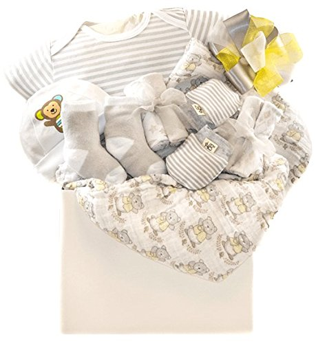 Newborn Baby Unisex Gift Basket with A Hat, Receiving Blanket, Socks, Onesie and More Pellatt Cornucopia