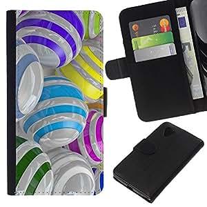 For LG Nexus 5 D820 D821 Case , Colorful Glass Reflective Orb Abstract - la tarjeta de Crédito Slots PU Funda de cuero Monedero caso cubierta de piel
