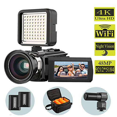 Video Camera, 4K Camcorder AiTechny Digital Camera 48MP 16X Digital Zoom Recorder WiFi Camera 3.0″ Touch Screen IR Night Vision Camcorder With Microphone+Wide Angle Lens+LED Video Light+DV bag