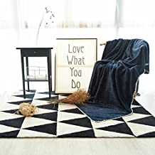 """Reversible Pearl Blanket Throw Faux Fur Soft Throw Fuzzy Warm Blanket Solid Plain Color Embossed Printed Use on Sofa Bed Children Kids Single Double Bed Size (Single, 59""""x78"""", Dark Blue)"""