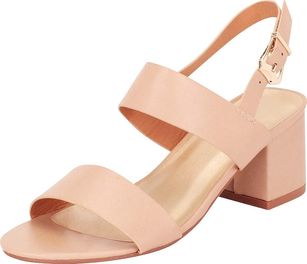 Nude Cambridge Select Women's Open Toe Slingback Chunky Stacked Block Heel Sandal