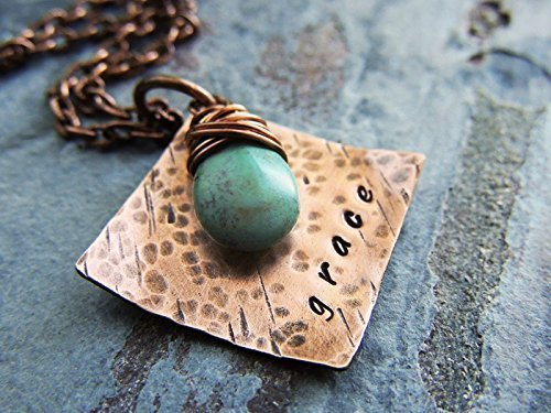 Diamond Shape Hammered Pendant - Grace Hammered Copper Pendant with Turquoise Teardrop Bead