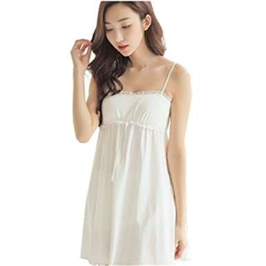 486b05f67c Flaydigo Womens Suspender Nightdress Cotton Sleeveless Embroidered Victorian  Nightshirt (M(for Height 155-