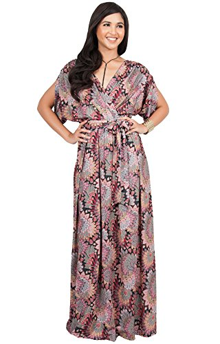 KOH KOH Womens Long Bohemian Boho Short Sleeve Summer Flowy V-Neck Casual Print Printed Sun Sundresses Maternity Gown Gowns Maxi Dress Dresses, Pink and Black L 12-14