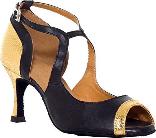 Salabobo L010 Womens Sexy Latin Tango Cha-cha Ballroom Wedding Party Prom PU Dance Shoes Gold