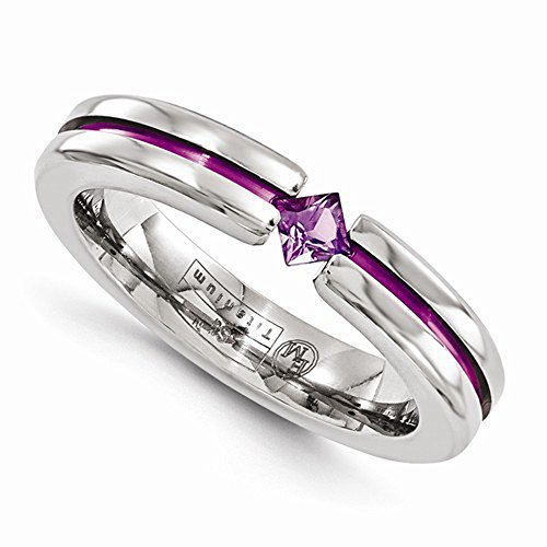 Edward Mirell Titanium Tension Set Amethyst and Purple Anodized 4mm Wedding Band - Size 6 by Edward Mirell