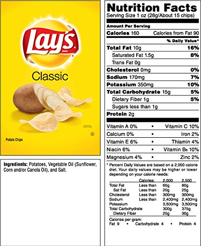 Amazoncom Lays Classic Potato Chips 1 Ounce Pack Of 50
