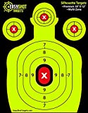 EASYSHOT SHOOTING TARGETS - Green & Red Colors Make it Easy to See Your Shots Land - Heavy-Grade Silhouette Paper Sheets - 150 Free Repair Stickers & EBOOK - Best Value Gun Targets. (25)