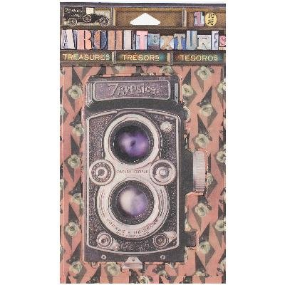 Canvas Corp 7 Gypsies Architextures Treasures Adhesive Embellishments-Vintage Style Camera 4