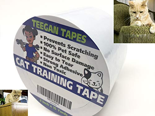 Cat Training Tape - Prevent Scratching | Clear Double Sided Tape | Furniture Protector & Scratch Deterrent | Sticky Double Sided Pet Repellant | Safe for Wood Furniture, Leather Sofas - Controls Tap Force Double