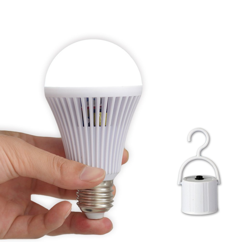RainTick LED Emergency Light Bulb, Rechargeable Tent Lamp, Built-in Battery Hang Hook for Camping Fishing Home Lighting Power Outage, 9W(75WEquivalent) E26 E27 120V 220V 6000K