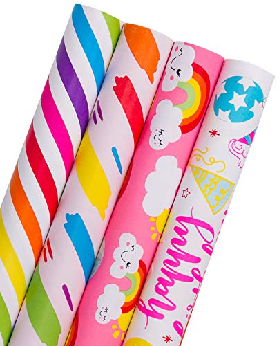 (WRAPAHOLIC Gift Wrapping Paper Roll - Colorful Design with Cut Lines for Birthday, Holiday, Baby Shower Gift Wrap - 4 Rolls - 30 inch X 120 inch Per Roll)
