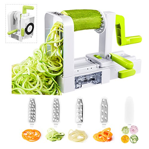 Spiralizer Vegetable Slicer, Deik Spiral Slicer 5 Blade, New Model Foldable, Strongest Heaviest Duty Veggie Pasta and Spaghetti Maker for Low Healthy Carb/Paleo/Gluten-Free
