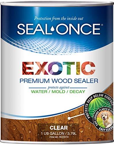 - SEAL-ONCE EXOTIC Premium wood sealer, waterproofer & stain 1-Gallon. Enhanced formula for denser Brazilian hardwoods like Ipe, Teak & Mahagony. Water-based, ultra-low VOC, non-toxic, 11 color tints.