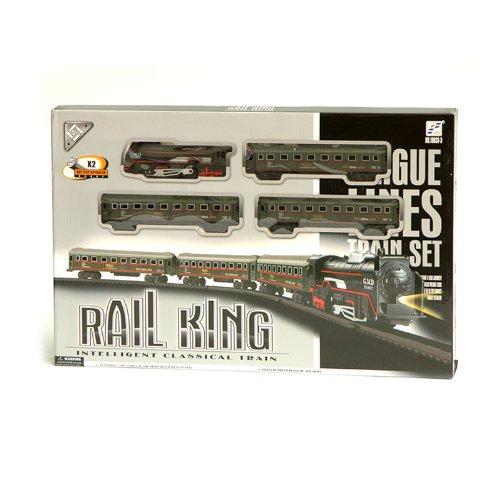 Rail King 19033-3 Modelleisenbahn Eisenbahn Lockomotive | Dampflok inkl. Lichtfunktion mit Personenwagen und Schienen | 104 x 68 cm