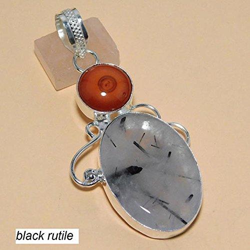 (Black Rutilated Quartz Pendant Orange Swirl Agate Pendant Silver Overlay Fashion Jewellery Designer 2.50 Inch Jewelry. )