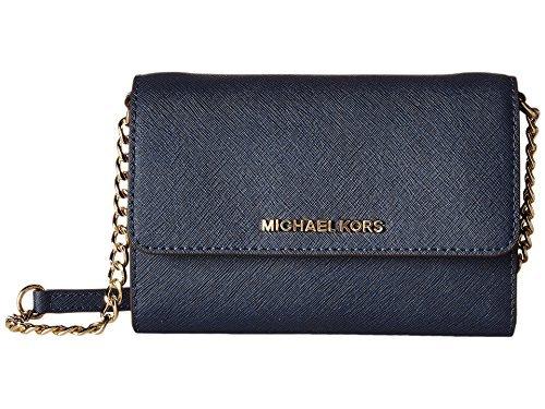 Michael Kors Womens Jet Set Travel LG Phone Crossbody Wallet Purse Navy Blue