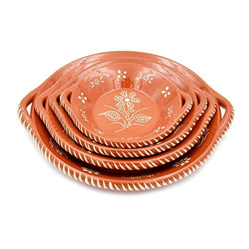 Portuguese Traditional Deep Dish With Handles Clay Terracotta Pottery Made In Portugal Cazuela (N.4 14'' Diameter) by Ceramica Edgar Picas
