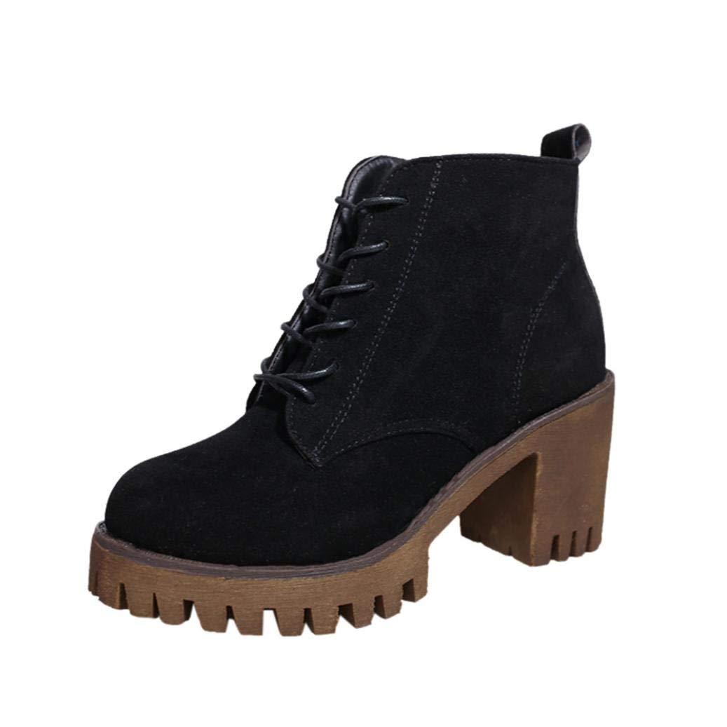 Oudan Frauen Martin Martin Martin Stiefel Lace-up Blockabsatz Plattform Ankle Stiefel (Farbe   Schwarz, Größe   4.5 UK) 0323bf