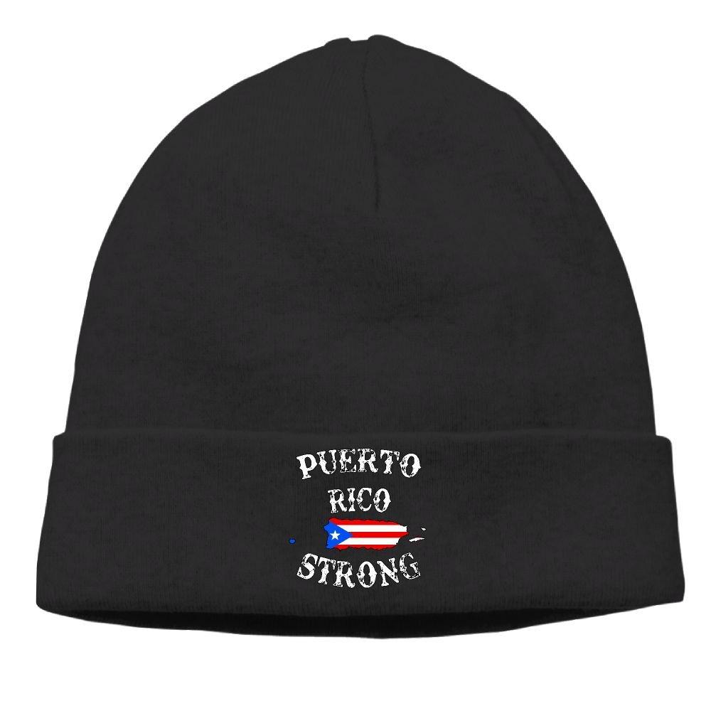 Puerto Rico Strong Winter Mens Warm Skull Cap Football Beanie for Women and Men