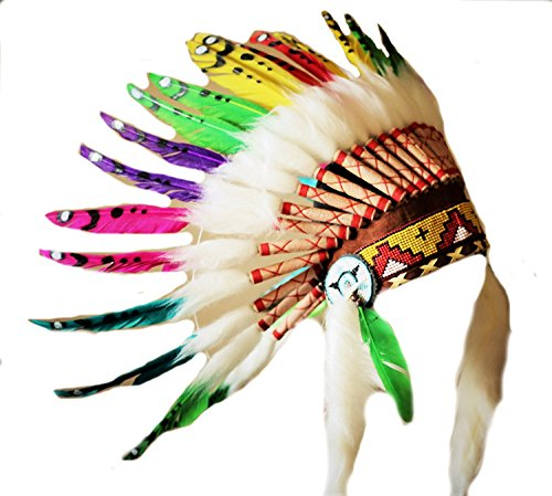 KARMABCN K17- Indian Style Headdress for 5 to 8 Year Old Kid/Children, hat, warbonnet, Feather Headdress -