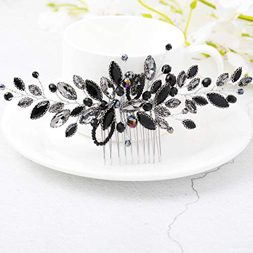 Yean Decorative Black Hair Comb Baroque Rhinestones Hair Accessories Headpiece for Women and Girls