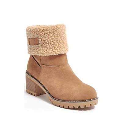 aea1ae55c2a3b Amazon.com: Hy Women's Booties Winter Suede Comfort Flat Ankle Boots ...