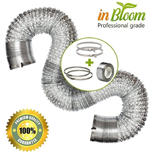 - Flexible duct BUNDLE KIT - Professional 3 layered Aluminum flexible duct ,6 in x 25 ft + 4 clamps (2 butterfly Easyclamps, 2 regular clamps) + aluminum ducting tape 2 in x 50 ft
