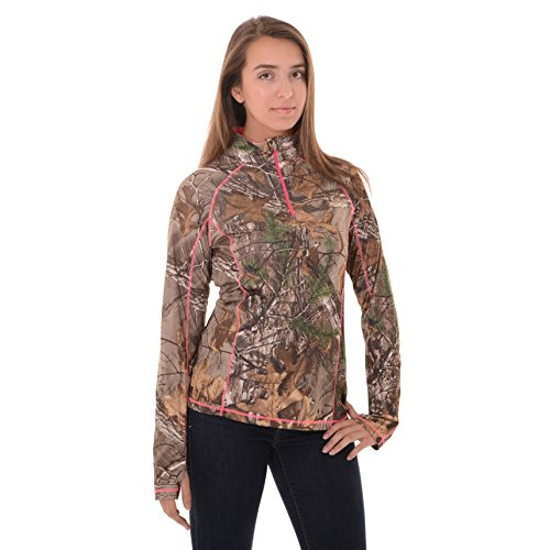 Realtree Women's 1/4 Zip Performance Shirt, Medium, Realtree Xtra
